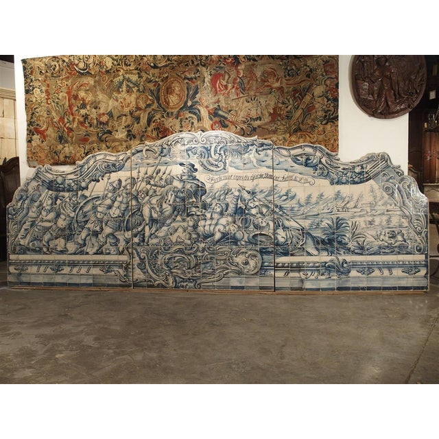 Monumental 3-Piece 18th Century Azulejo Mural Panel From Portugal For Sale - Image 13 of 13