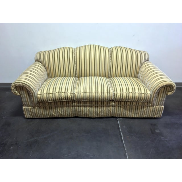 High-end sofa by Baker in luxurious cut velvet fabric. Gold, Neutral and Olive. Roll arms, skirted. Nice! 86w 43d 36h...
