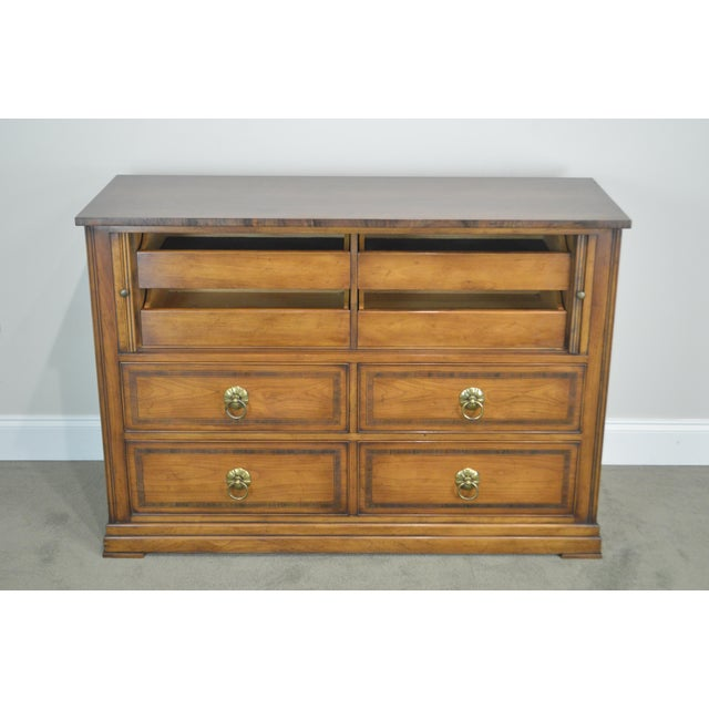 Brown Regency Style Custom Quality Tambour Door Chest For Sale - Image 8 of 13