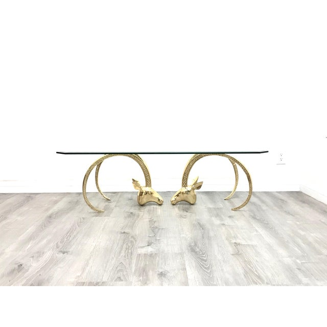 Polished Brass Ibex Ram's Head Glass Top Coffee Table For Sale - Image 10 of 10