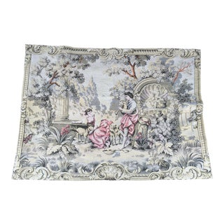 "French Garden Scene Tapestry 45""x60"" For Sale"