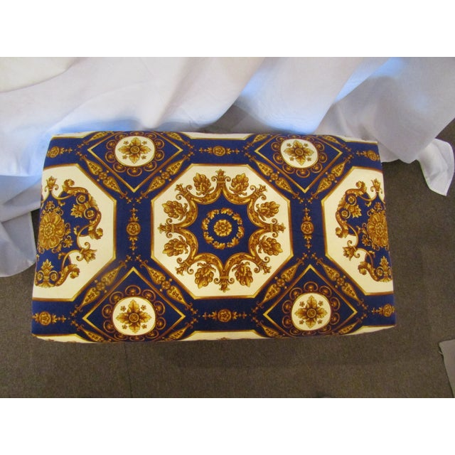 1990s Contemporary Colorful Upholstered Ottoman with Carved Cabriole Legs For Sale - Image 4 of 5