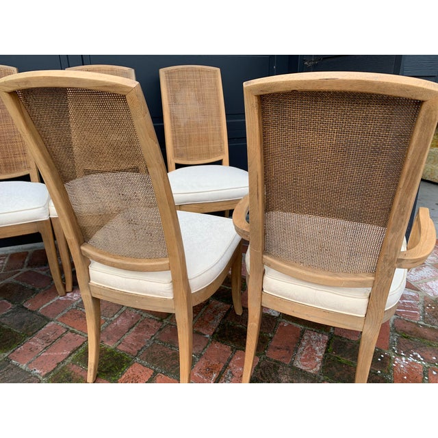 Tan Mid-Century Tall Cane Back Dining Chairs - Set of 6 For Sale - Image 8 of 10