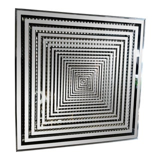 Op Art Mercury Mirror With Subset Incised Glass. America, C. 1960s For Sale