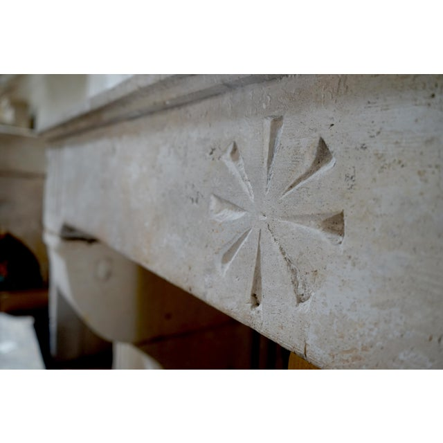 17th Century Limestone Fireplace For Sale - Image 4 of 6