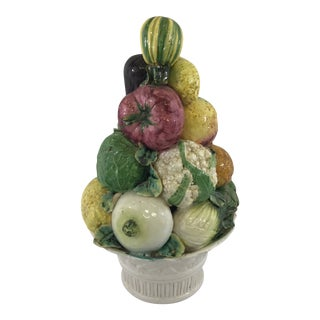 Large Antique Porcelain Vegetable Basket Centerpiece For Sale