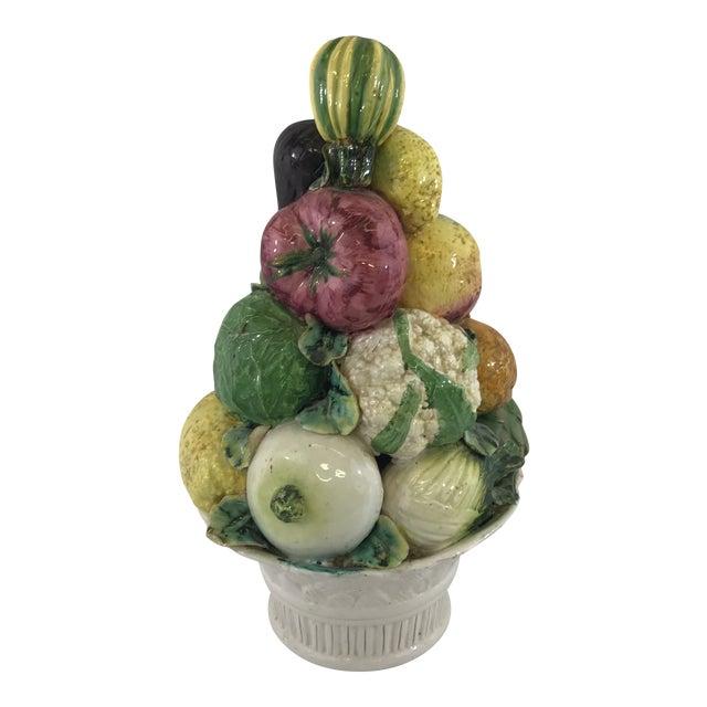 Large Antique Porcelain Vegetable Basket Centerpiece For Sale