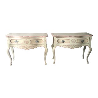 1950s Shabby Chic La Barge Hand Painted Consoles - a Pair For Sale
