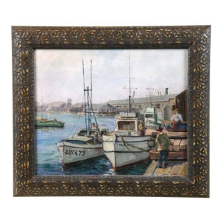 Maritime Harbor Scene Oil on Board Painting For Sale