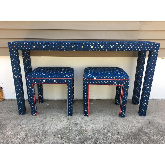 Mediterranean 1970s Mediterranean Blue Upholstered Parsons Table With Matching Benches - 3 Pieces For Sale - Image 3 of 12