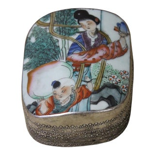 Old Colorful Painting Lady With Kid Carry Longevity Peach Porcelain Nickel Trinket Box For Sale