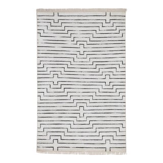 Hand-Loomed Geometric Black and White Rug For Sale