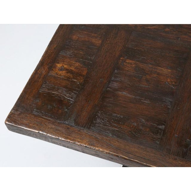 Wood French Oak Trestle Dining Table For Sale - Image 7 of 13