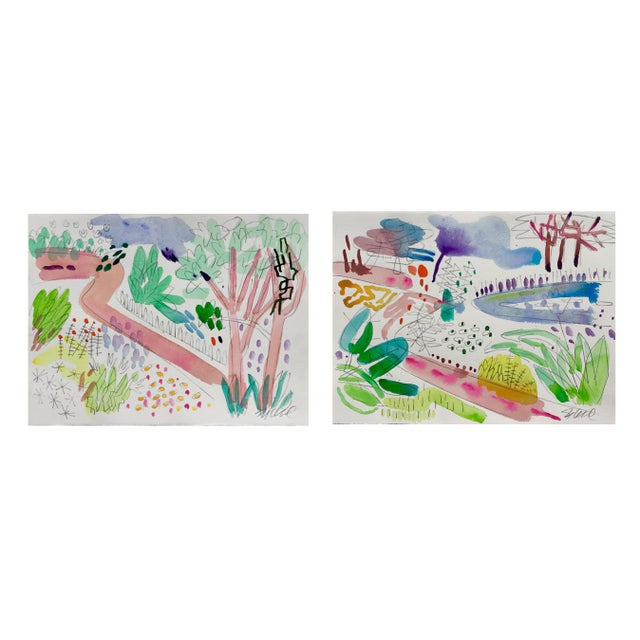 "Steve Klinkel English Garden , Set of Two. Two 11x15"" Watercolors For Sale - Image 4 of 4"