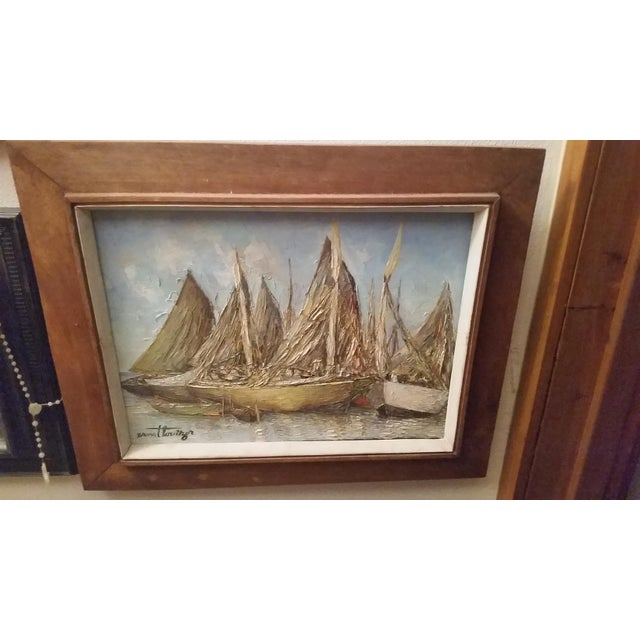 Vintage Haitian Boat Scene Oil Painting by Ernst Louiszor - Image 2 of 6