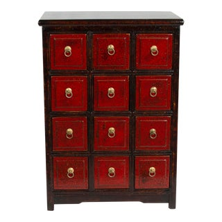 Chinese Traditional Medicine Apothecary Cabinet with Ring Pulls For Sale