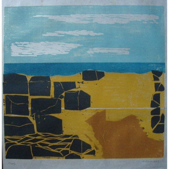"""Shore with Stones"" Woodblock by William Wolff - Image 1 of 3"