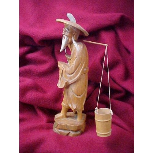 Hand Carved Asian Water Bearer For Sale - Image 5 of 8