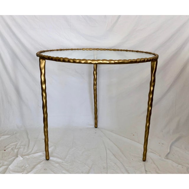 2010s Jamie Young Glass Top Gold Table For Sale - Image 5 of 6