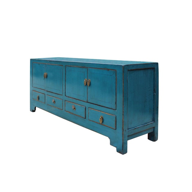 Chinese Distressed Blue Low Tv Console Table Cabinet For Sale - Image 4 of 9