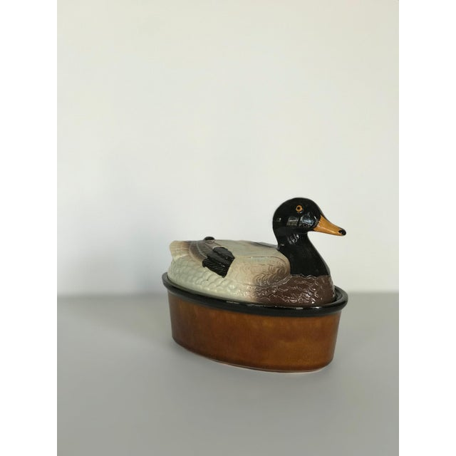 Brown Ceramic Mallard Tureen or Trinket Box For Sale - Image 8 of 8