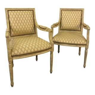 Vintage Mid Century Louis XVI Arm Chairs- A Pair For Sale