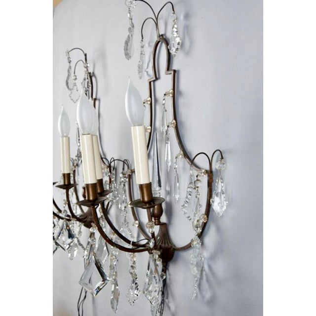 Pair French Delicate Three Light Metal and Crystal Sconces - Image 6 of 6