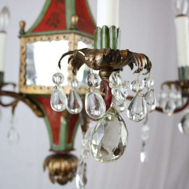 Italian Mirrored Tole & Crystal Chandelier - Image 4 of 11