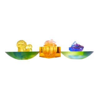2000s Luiligongfang Limited Edition Crystal Art Sculptures - 3 Pieces For Sale