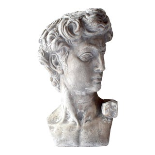 Mid-Century 1968 Plaster Bust of Michelangelo's David For Sale