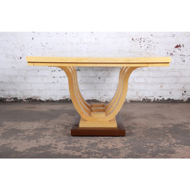 Italian Art Deco Birdseye Maple and Mahogany Pedestal Extension Dining Table For Sale - Image 10 of 11