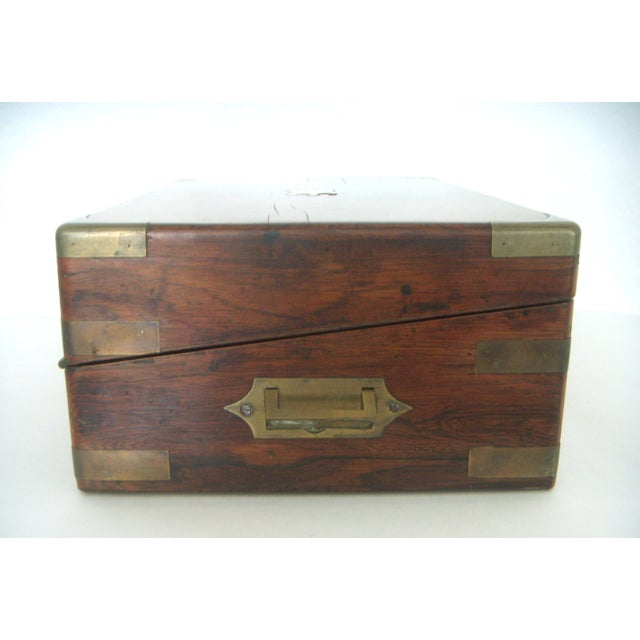 Campaign Antique English Walnut Slope Top Deed/ Writing Box For Sale - Image 3 of 10