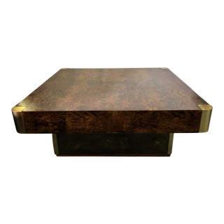 Burl Wood/Brass/Mirror Coffee Table