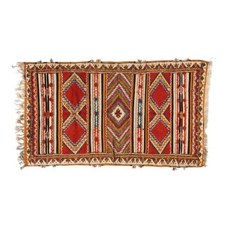 Berber Rug - Handwoven Wool With Abstract Diamond Patterns For Sale