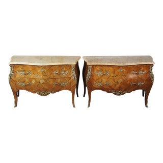 2 Antique French Louis XV Tulip Wood Marquetry Inlay Marble Bombay Commodes Pair For Sale