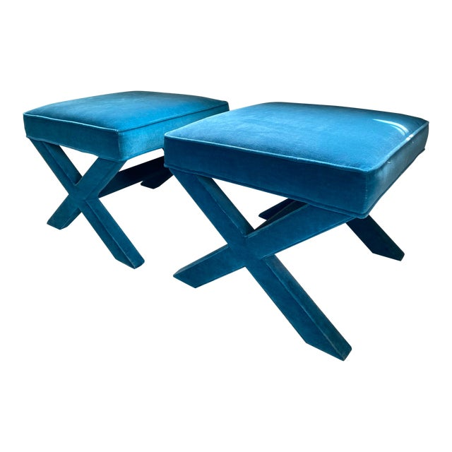 Jonathan Adler X Benches in Venice Peacock - a Pair For Sale