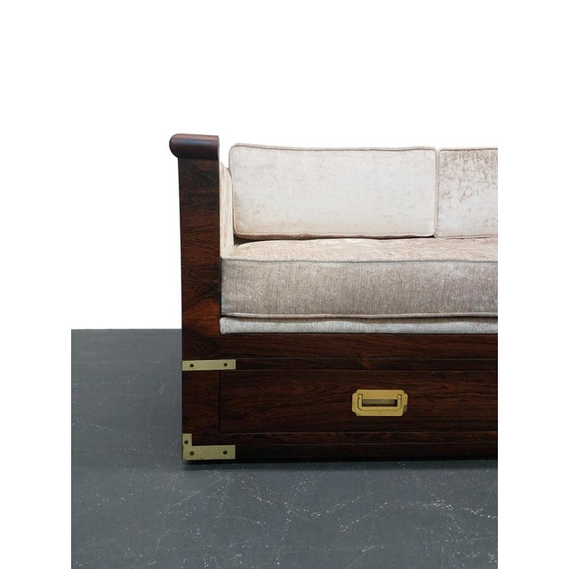 Rosewood Mid Century Rosewood Campaign Style Case Sofa with Brass Details For Sale - Image 7 of 8