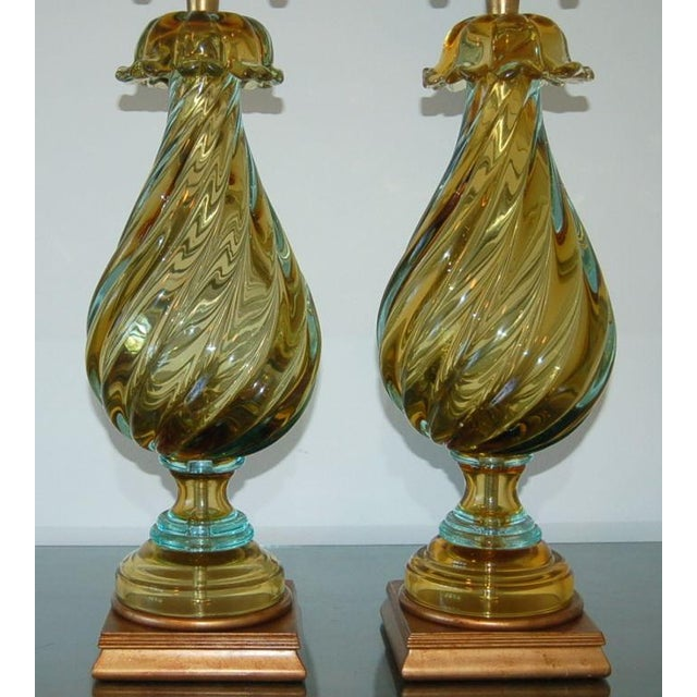 Hollywood Regency Marbro Murano Glass Table Lamps Gold Blue For Sale - Image 3 of 10