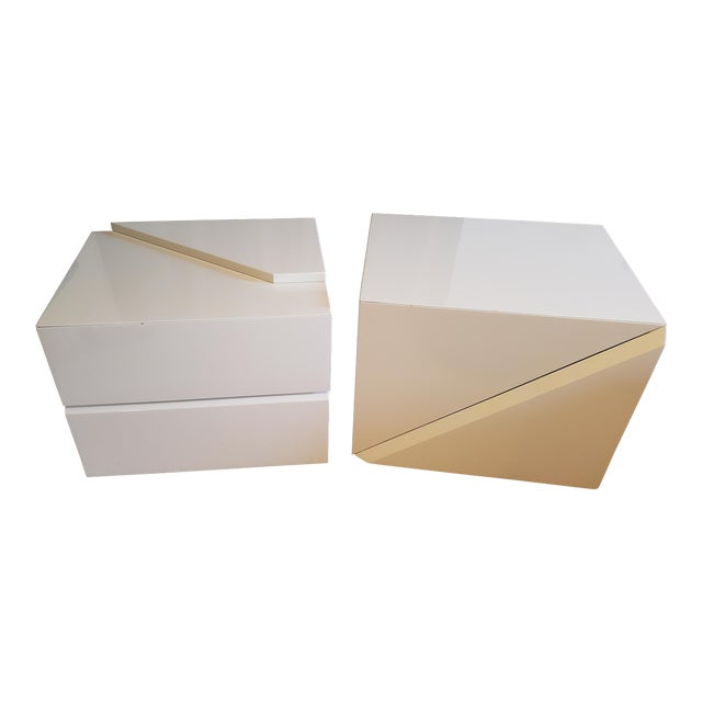 Rougier Cream Colored Lacquered End Tables - A Pair For Sale