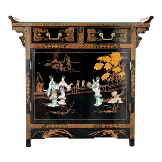 Vintage Chinoiserie Asian Oriental Black Lacquer Altar Sideboard Cabinet Buffet For Sale