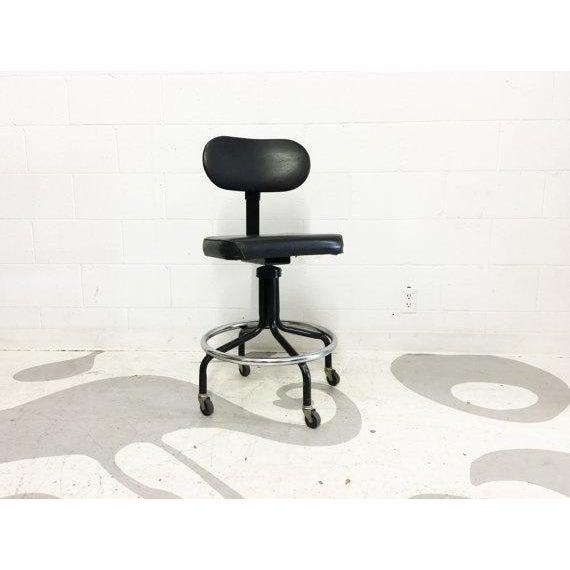 Mid-Century Black Vinyl Industrial Chair - Image 3 of 6