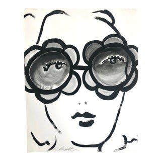 Girl With Groovy Sunglasses Oil Painting on Paper For Sale