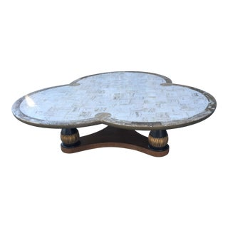 1950s Hollywood Regency Monteverdi Young Clover Shaped Travertine Coffee Table For Sale