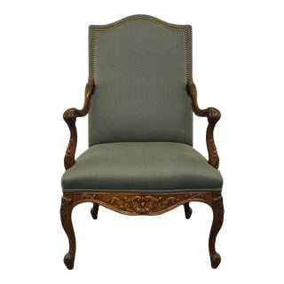 Sherrill Furniture Louis XVI French Regency Green Upholstered Accent Arm Chair For Sale