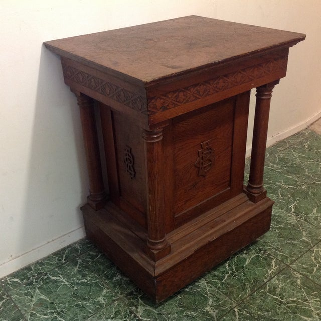 Antique Knights of Pythias Oak Table or Stand - Image 2 of 7