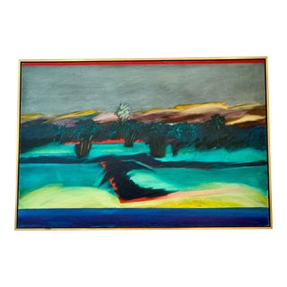 """1986 Modern Abstract Painting """"Toward the Island"""" Framed For Sale"""