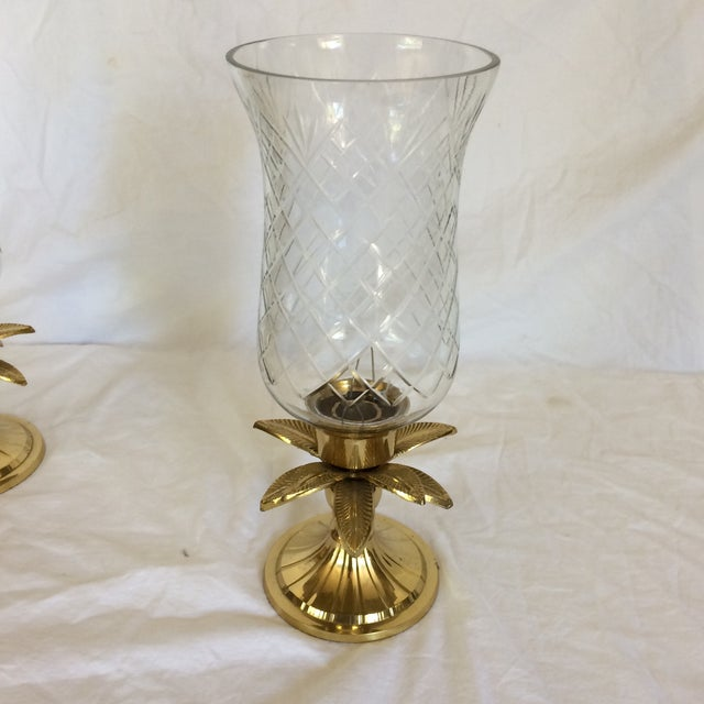 Vintage Etched Crystal & Brass Pineapple Design Candle Holders - a Pair - Image 5 of 11