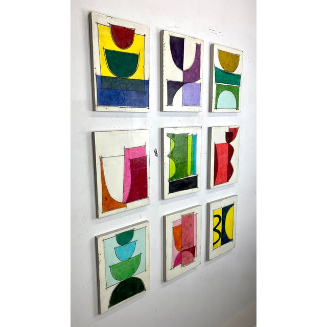 """Mid-Century Modern """"Eat the Cake"""" by Gina Cochran Encaustic Collage Installation - 9 Panels For Sale - Image 3 of 13"""