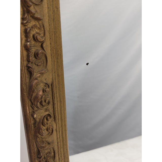 Victorian Vintage 1960s Gesso Gold Wood Square Wall Mirror For Sale - Image 3 of 10