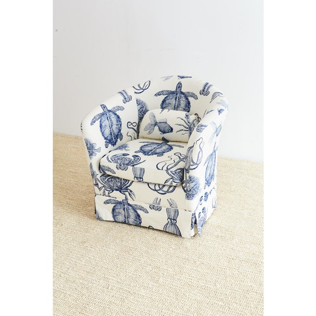 Fabulous blue and white sea life nautical upholstered club chair by Thomas Paul. Features an organic cotton heavyweight...